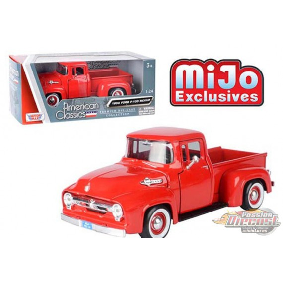 1956 Ford F-100 Pickup Red - Motormax 1/24 - 73235 RD  - Passion Diecast