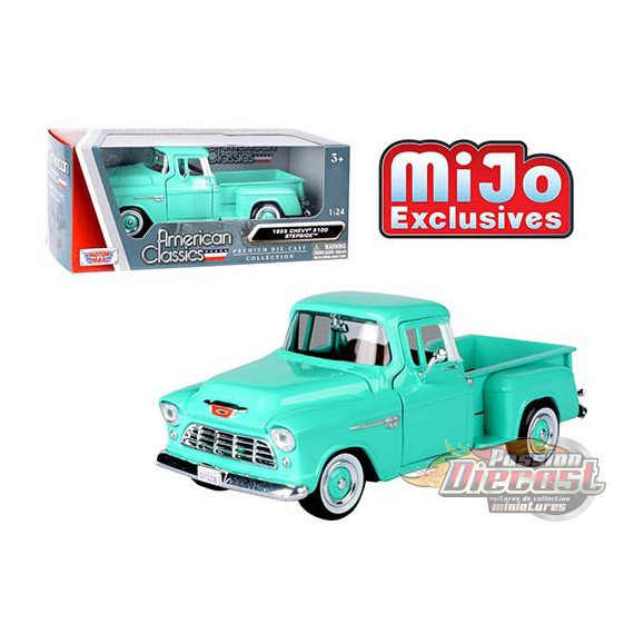 1955 Chevrolet 5100 Stepside Pickup Turquoise - Motormax 1/24 - 73236 TQ - Passion Diecast
