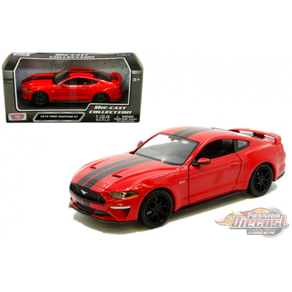 2018 Ford Mustang Gt  Red with black stripes - Motormax 1/24 - 793582 RDBK - Passion Diecast