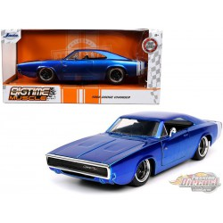 """1968 Dodge Charger R/T Candy Blue  """"Bigtime Muscle"""" -  JADA 1/24 -   31865 - Passion Diecast"""