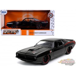 """1973 Plymouth Barracuda """"Hurst"""" Black with Red Stripes """"Bigtime Muscle""""  -  JADA 1/24 -   31460 - Passion Diecast"""