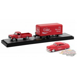 1969 Ford F-250 Ranger Truck with Trailer and 1949 Mercury Custom Coca-Cola -  M2 1/64  TW02 A  -  Passion Diecast