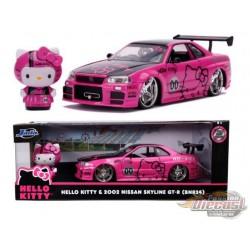 2002 Nissan Skyline GT-R 34  Pink Metallic and Black with Hello Kitty  Figurine -  Jada 1/24 -  31613   Passion Diecast