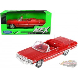 1957 Chevrolet Corvette Convertible Red and White  - Welly 1/24 - 29393 RD  - Passion Diecast