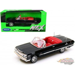 1963 Chevrolet Impala Convertible Black  - Welly 1/24 - 22434 BK  - Passion Diecast