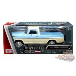 1969 Ford F-100 Pickup Truck 2 Tons bleu / crème - Motormax 1/24 - 79315 BL-CRM  - Passion Diecast
