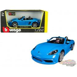 Porsche 718 Boxster Blue - Bburago 1-24 - 21087 BL - Passion Diecast