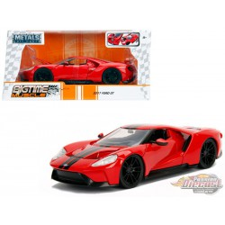 """2017 Ford GT Red With Black Stripes   """"Bigtime Muscle"""" - Jada 1/24 - 99391 - Passion Diecast"""