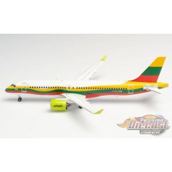 """Air Baltic Airbus A220-300 (Bombardier CS300) """"Lithuania"""" - Herpa 1/200 HE570770 Passion Diecast"""