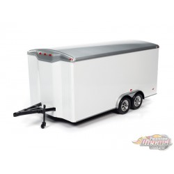 Four Wheel Enclosed Trailer White with Silver Top  - Auto World / American Muscle 1/18 - AMM1238 -  Passion Diecast