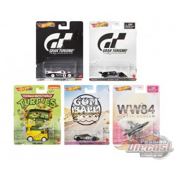 Hot Wheels 1:64 Retro Entertainment  ''T'' Case Favorite  -  Assortment -  Set of 5 Cars - DMC55-956T - Passion Diecast