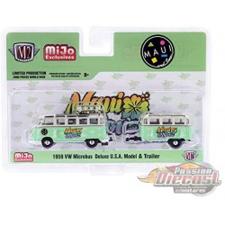 1959 Volkswagen Bus Deluxe  With Trailer  - Maui & Sons - M2 Machines 1/64 Auto Trailer Mijo Exclusive - 38100 MJS02