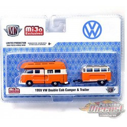 1959 Volkswagen Bus  Double Cab Camper With Trailer - M2 Machines 1/64 Auto Trailer Mijo Exclusive - 38100 MJS03