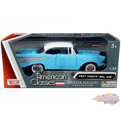 1957 Chevrolet Bel Air Light Blue with White Top - Motormax 1/24 73228 BLWH  - Passion Diecast