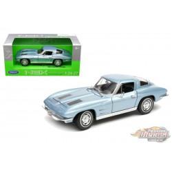 1963 Chevrolet Corvette Blue  -  Welly 1/24 - 24073 BL - Passion Diecast