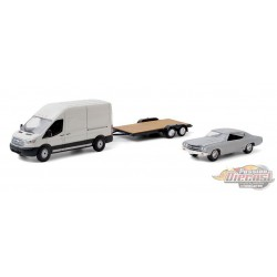 2015 Ford Transit LWB / Unrestored 1970 Chevrolet Chevelle Malibu on Flatbed Trailer - American Pickers -1/64 Greenlight 31100 B