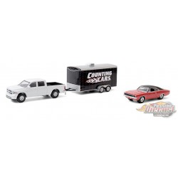2014 Ram 1500 avec 1968 Dodge Charger R/T in Enclosed Car Hauler - Counting Cars -1/64 Greenlight 31100 C