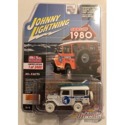 1980 Toyota Land Cruiser  Off-Road 4x4 with Surfboard - White Lightning 1/64 Mijo Exclusive - JLCP7332GR