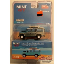 Land Rover Defender - 110 Blue With Rack & Surfboard - CHASE CAR Mini GT by TSM Models 1/64 - MGT00109 MJGR
