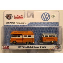 1959 Volkswagen Bus  Double Cab Camper With Trailer - SUPER CHASE CAR M2 Machines 1/64 Auto Trailer - 38100 MJS03GR