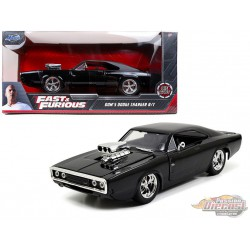 """Dom's 1970 Dodge Charger R/T Black """"The Fast and the Furious"""" (2001) - Jada 1/24 - 97605 - Passion Diecast"""