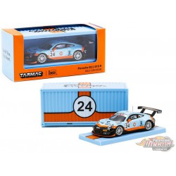 Porsche 911 GT3 R n°24 Gulf 12 Hours  with Container RAUH-Welt BEGRIFF - Tarmac Works  1/64 - T64-032-18GULF - Passion Diecast