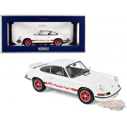1973 Porsche Carrera 911 RS Touring White with Red Stripes - 1/18  Norev  - 187639 - Passion Diecast
