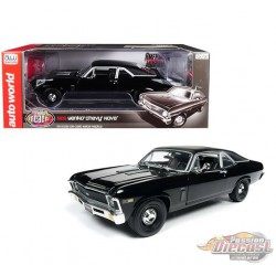 1969 Chevrolet Nova Yenko Black with  Matt Black Top - Auto World / American Muscle 1/18 - AMM1178 -  Passion Diecast