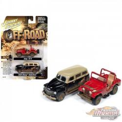 Jeep CJ-5  & 1950 Chevrolet Suburban -  Off Road - Set of 2 -  Johnny Lightning 1:64 - JLSP060 - Passion Diecast