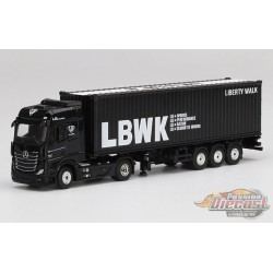 "Mercedes-Benz Actros With 40 Ft Container ""LBWK Liberty Walk""  -   MINI GT 1/64  -  MGT00215 - Passion Diecast"