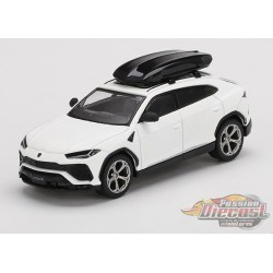 Lamborghini Urus with Roof Box Bianco Monocerus Matt -  MINI GT 1:64 - Usa Exclusive - MGT00220 - Passion Diecast