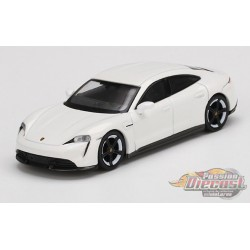 Porsche Taycan Turbo S White -  MINI GT 1:64 - MGT00218 - Passion Diecast