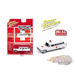 1959 Cadillac Ambulance  White - Johnny Lightning -  1:64 Mijo Exclusive - JLCP7350 - Passion Diecast