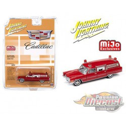 1966 Cadillac Ambulance  Red - Johnny Lightning -  1:64 Mijo Exclusive - JLCP7351 - Passion Diecast