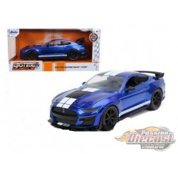 2020 Ford Shelby  GT500 Blue with White stripe -  Jada 1/24 - 53003 BL 32409 - Passion Diecast