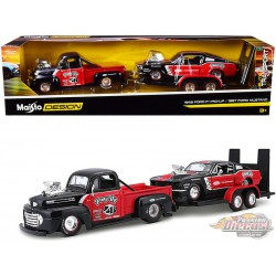 1948 Ford F-1 Pickup Truck n°48 with 1967 Ford Mustang GT and Flatbed Trailer -  Maisto 1.24 - 32751 RD - Passion Diecast