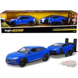 Lamborghini Urus Blue with Lamborghini Huracan Coupe Blue and Flatbed Trailer   -  Maisto 1.24 - 32753 - Passion Diecast