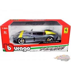 Ferrari Monza SP1 Silver Metallic with Yellow Stripes - Bburago 1-24 -  26027 - Passion Diecast