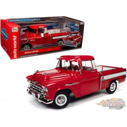 1957 Chevrolet Cameo Pickup  Cardinal Red and White - 1/18 Auto World  AW265  - Passion Diecast