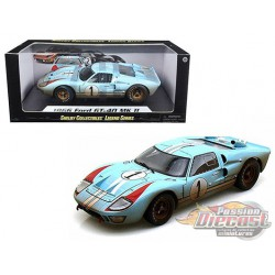 1966 Ford GT 40 MKII Gulf n°1 Dirty Version -  Shelby Collectibles 1/18 - 405 BL - Passion Diecast