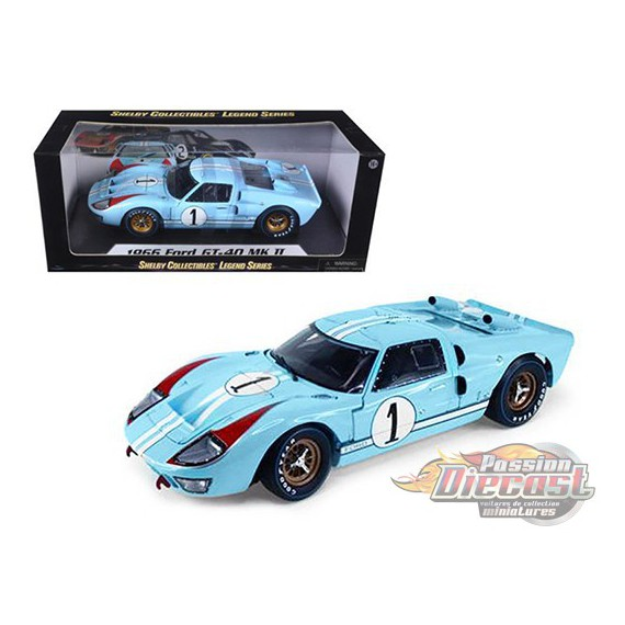 1966 Ford GT 40 MKII Gulf n°1 Bleu - Shelby Collectibles 1/18 - 411 BL  - Passion Diecast