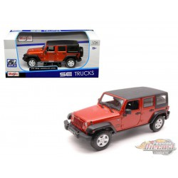 2015 Jeep Wrangler Unlimited Orange with Black Top - Maisto 1.24 - 31268 OR  - Passion diecast