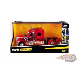 "International LoneStar Truck ""Diablos  Red with Dark Red Flames ""Custom Rigs"" -  Maisto 1/64 - 12389 A - Passion Diecast"