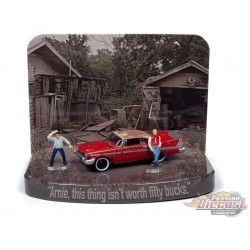 Christine - 1958 Plymouth Fury (Junked Version) Diorama with Arnie and Dennis Figures  - Johnny Lightning -  1:64 - JLSP079