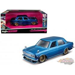 1971 Datsun 510 Matt Candy Blue with Gold Wheels - Maisto Tokyo Mod 1/24 - 32527 BL - Passion Diecast
