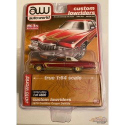 1976 Cadillac Coupe Deville - Lowriders - CHASE CAR ULTRA RED Auto World 1/64 MiJo Exclusives - CP7661