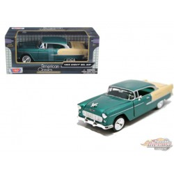 1955 Chevrolet  Bel Air   Green and Beige - Motormax 1/24 - 73229 GR  -  Passion Diecast