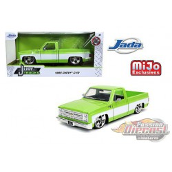 1985 Chevrolet Silverado C10  Pickup  Custom Cartelli Wheels Green/White - Just Truck -  JADA 1/24 -  32685  -  Passion Diecast