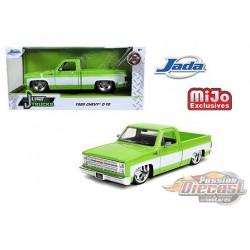 1985 Chevrolet Silverado C10  Pickup  Custom Sugar C. Wheels Green/White - Just Truck -  JADA 1/24 -  32686 -  Passion Diecast