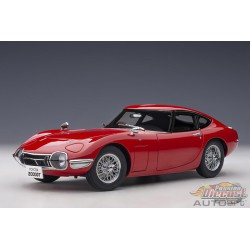 Toyota 2000 GT - Red with metal wire spoke wheels - Autoart 1/18 - 78761  - Passion Diecast